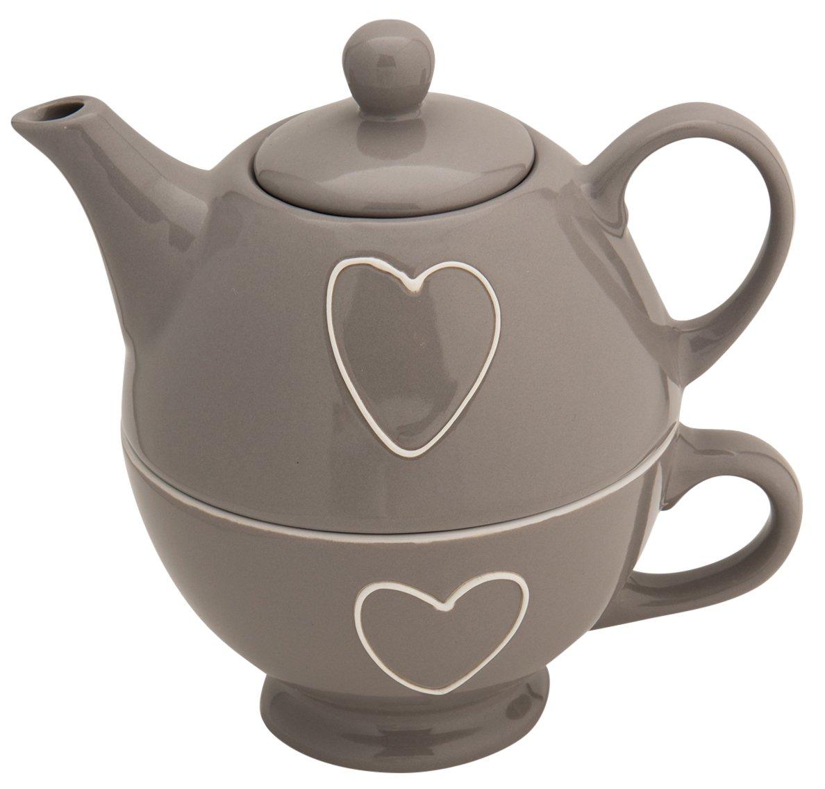 CHICCIE Herz Teekanne mit Becher Set - Tee Service Keramik Teebecher