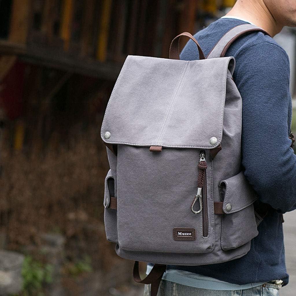 NJ Backpack Color : Stylish Gray Mens Backpack Shoulder Bag Casual Canvas Bag Travel Bag Student Bag Fashion Trend Large Capacity Bag