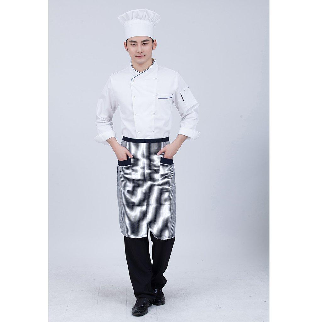 Fenteer Donna Uomo Top Giacche da Chef Camicie Da Cuoco Abbigliamento da Lavoro Ristorazione