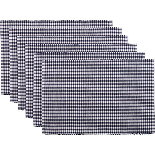 VHC Brands 33249 Americana Farmhouse Tabletop & Kitchen-Tara Blue Ribbed Placemat Set of 6, One Size, Navy