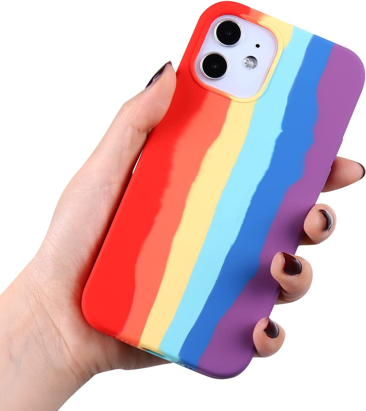 Rongda Cute Rainbow Case Compatible with iPhone 12 pro max (6.7),Colorful Liquid Silicone Full-Body Shockproof Protective Cover for Women and Girls