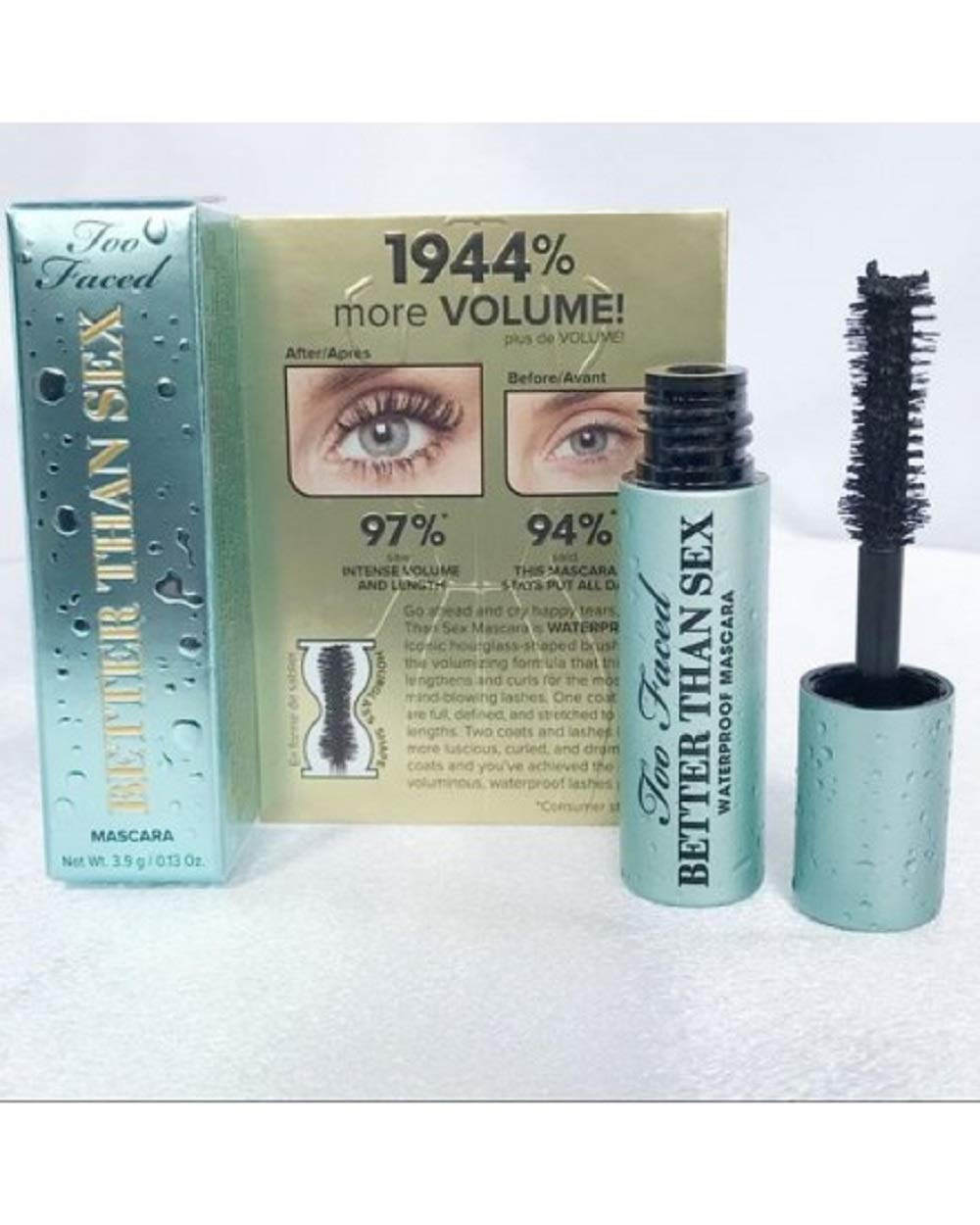 4a73faa2c8d Amazon.com: Too Faced Better Than Sex Mascara Waterproof Mini Travel Size  .13 ounce blue tube: Beauty