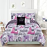 Bedding Queen 5 Piece Girls Comforter Bed Set, Paris Eiffel Tower London Pink and Purple
