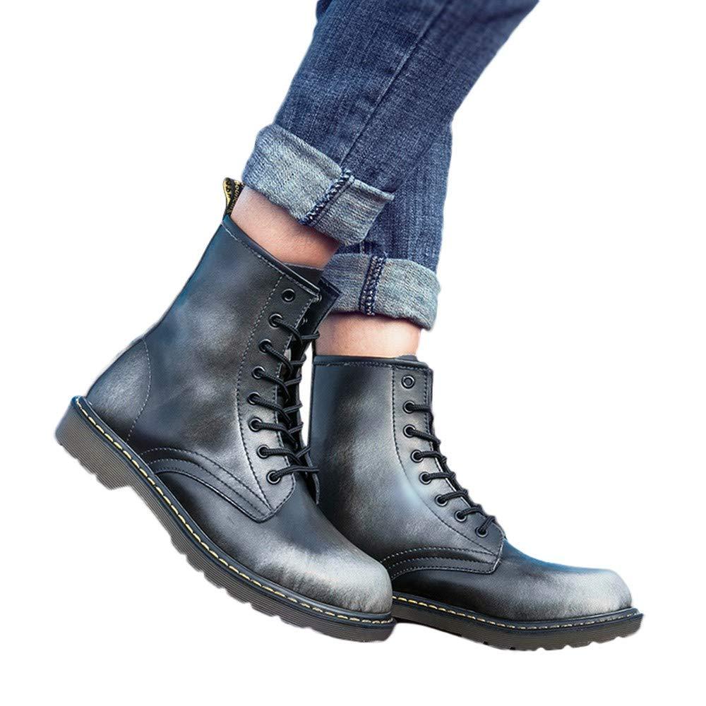 Mymyguoe Zapatos de Invierno Hombres Botines Cortos con Cordones Moto Zapatos Militares Movimiento Estilo Brit/áNico Black Friday Botas Zapatos Tacon bajo Fondo Plano Botas Tal/ón Grueso