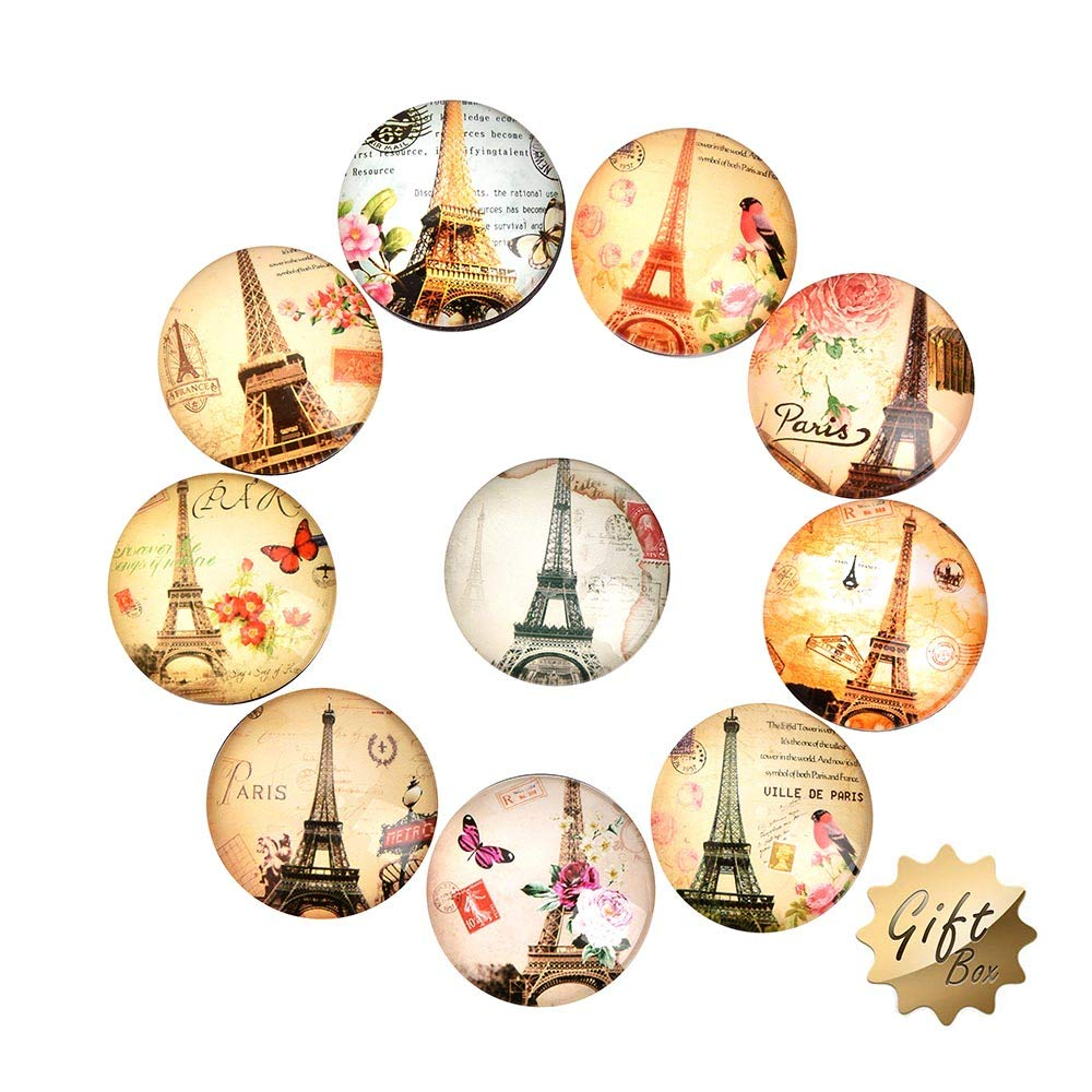 Eiffel Tower Fridge Magnets -10 Pack Refrigerator Magnets,1.35 Inches Diameter, Office Magnets, Calendar Magnet, Whiteboard Magnets,Perfect Decorative Magnet Set with beautiful Box (Eiffel Tower)