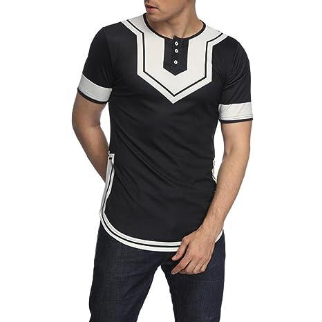 LuckyGirls Camisa Camisetas Originales Hombre Manga Cortos Verano Color de Hechizo Botones Moda Polos Deportivas Blusa