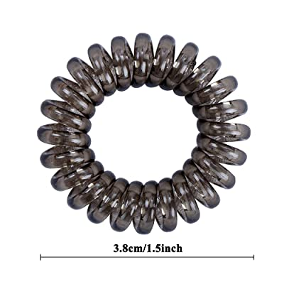 Natural Thick Snag Free Endless Hair Elastics Bobbles Hair Bands Spiral Clear Pack of 4