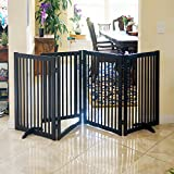 WELLAND Freestanding Wood Pet Gate w/ Walk Through Door, 88-Inch, Espresso