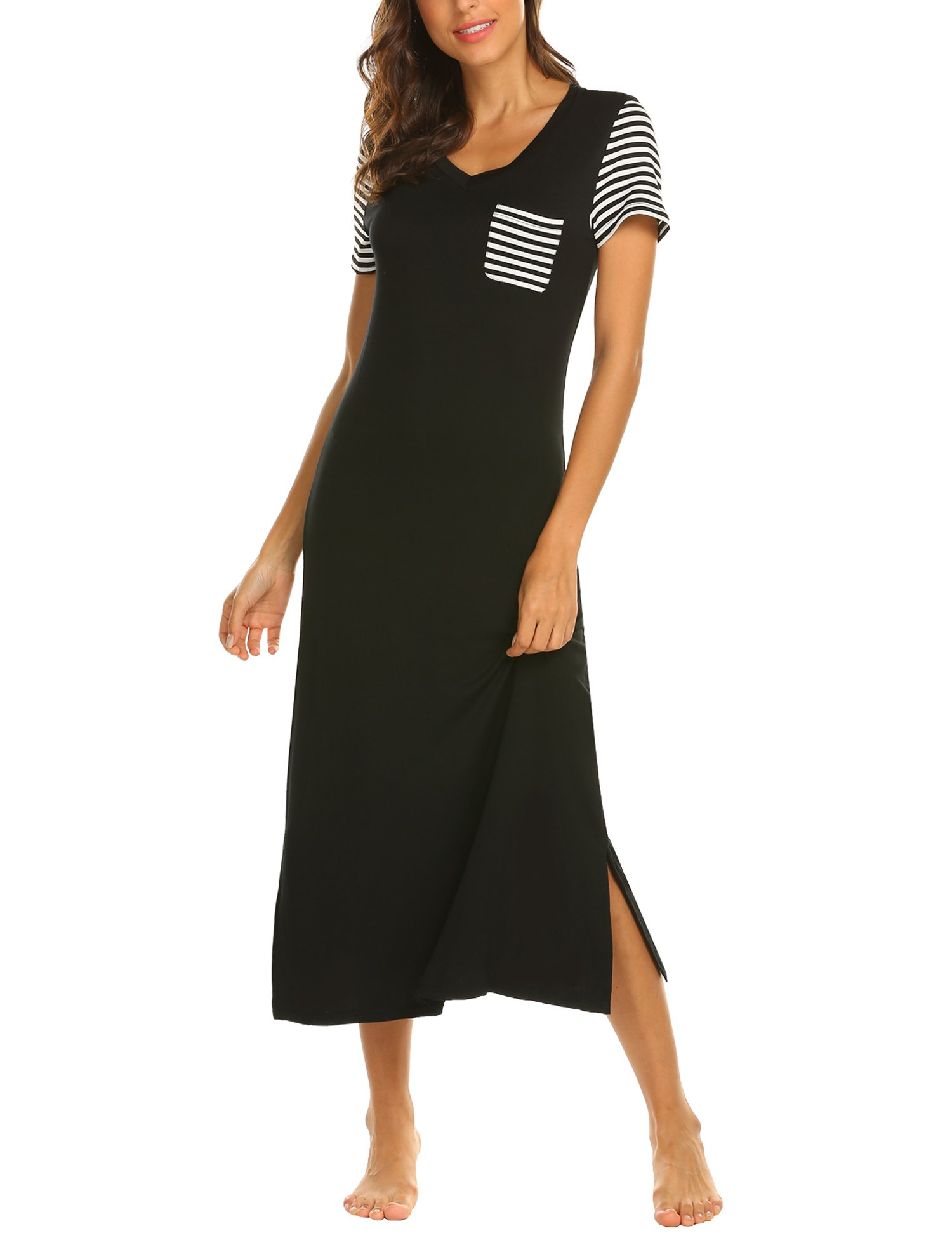 Hotouch Soft Nightgown/Women Sleepwear Dress/Striped Sleep Dress Black Large