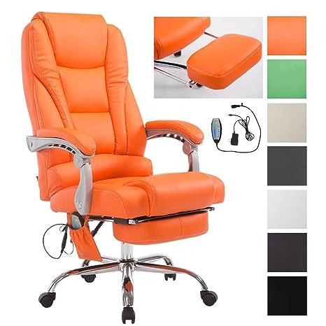 CLP Chefsessel Pacific Stoff mit Massagefunktion l H/öhenverstellbarer B/ürostuhl mit ausziehbarer Fu/ßablage l Max belastbar bis 150 kg Braun