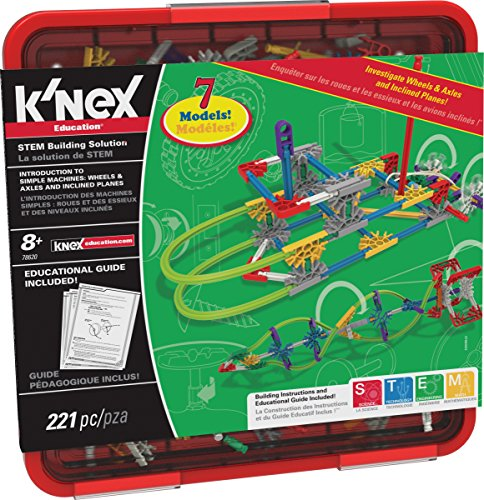 K'NEX Education - Intro to Simple Machines: Wheels, Axles, & Inclined Planes Set - 221 Pieces - Ages 8+ Engineering Educational Toy