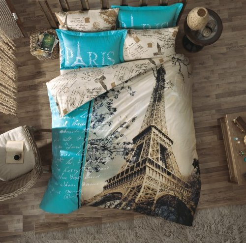 Queen Cotton Bedding Sets Paris with Duvet Cover, Eiffel Tower Themed Bedspread Lettering Illustration Digital Print, 4 Pieces, Blue