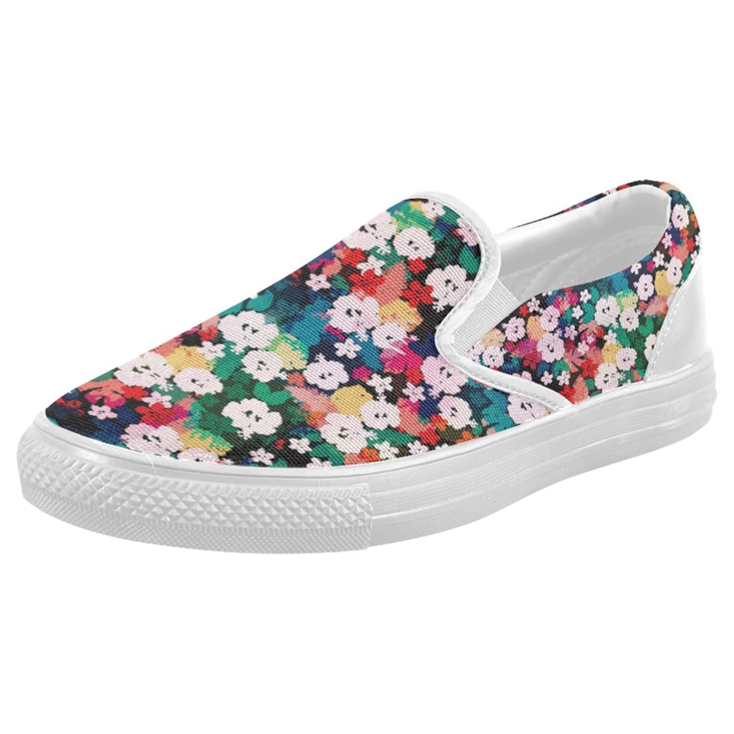 Womens Slip-on Loafer White Hawaiian Hibiscus Flowers Fashion Sneaker Casual Flat Walking Shoes Round Toe