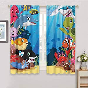 Whale Premium Blackout Curtains Colorful Underwater Sandy Ground Cartoon Shark Fin Sea Plants Art Print Kindergarten Noise Reduction Curtains W42 x L72 Inch Sky Blue Hot Pink Orange