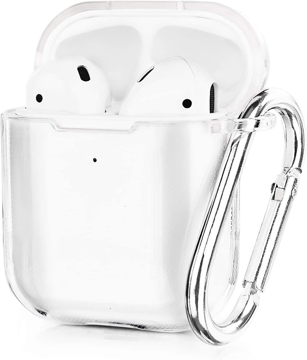 AIRSPO Airpods Case Cover, Clear Soft TPU Protective Cover Compatible with Apple AirPods 1/2 Wireless Charging Case with Keychain (Clear)