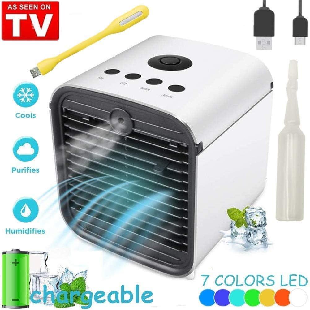 Air Cooler Portable Condizionatore Silenzioso Raffreddatore dAria Evaporativo Umidificatore Purificatore Daria,7 Colore LED USB Cooler per Casa Ufficio Camper