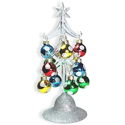 BANBERRY DESIGNS Glass Christmas Tree - LED Lighted Silver Glitter Tree with  12 Colorful, Removable - Amazon.com: BANBERRY DESIGNS Glass Christmas Tree - LED Lighted