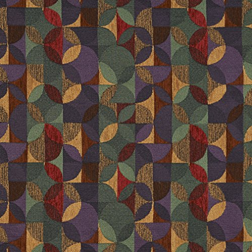 F513 Purple Green And Red Geometric Chenille Upholstery Fabric By The Yard - Geometric Upholstery