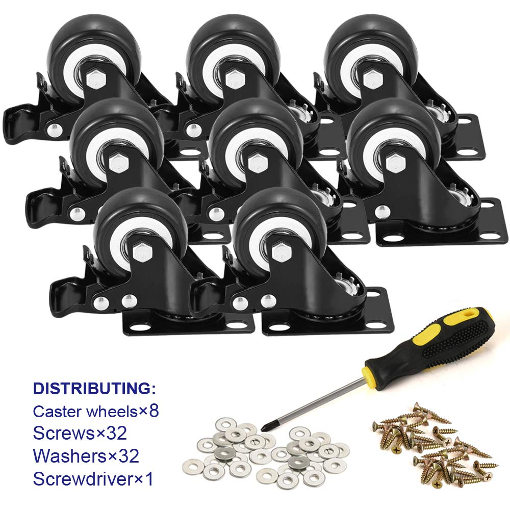 """BOSGEOT 2"""" Caster Wheels, Heavy Duty Casters with Brake Set of 8, Locking Casters with 360 Degree No Noise Polyurethane (PU) Wheels, Swivel Plate Castors Pack of 8"""