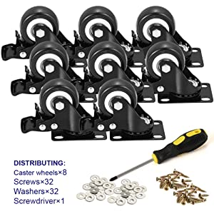 "BOSGEOT 2"" Caster Wheels, Heavy Duty Casters with Brake Set of 8, Locking Casters with 360 Degree No Noise Polyurethane (PU) Wheels, Swivel Plate Castors Pack of 8"