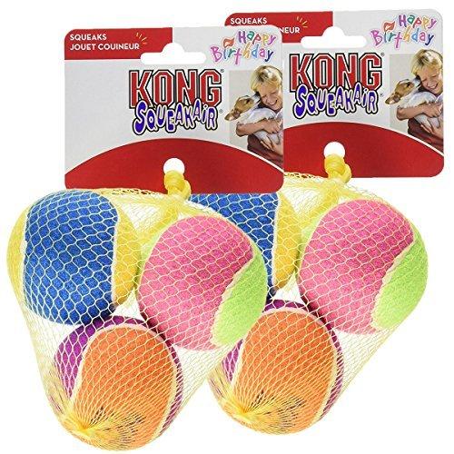 KONG Air Dog Squeakair Birthday Balls Dog Toy, Medium, Colors Vary (6 Balls) (Kong Dog Balls Air)