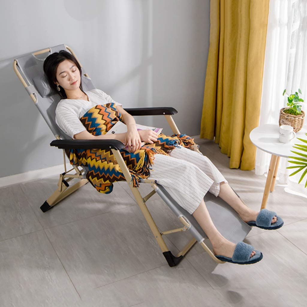 Ställbar avslappnande lounge-fåtölj, Outdoor Zero Gravity Lounge hopfällbar stol med vikbar vadderad bekväm andningsbar maxvikt 150 kg grå