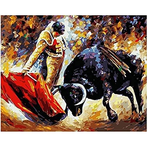Pintura al oleo por numero kit Torero figura pared arte cuadro lienzo pintura para boda decoracion DIY Pintura al oleo