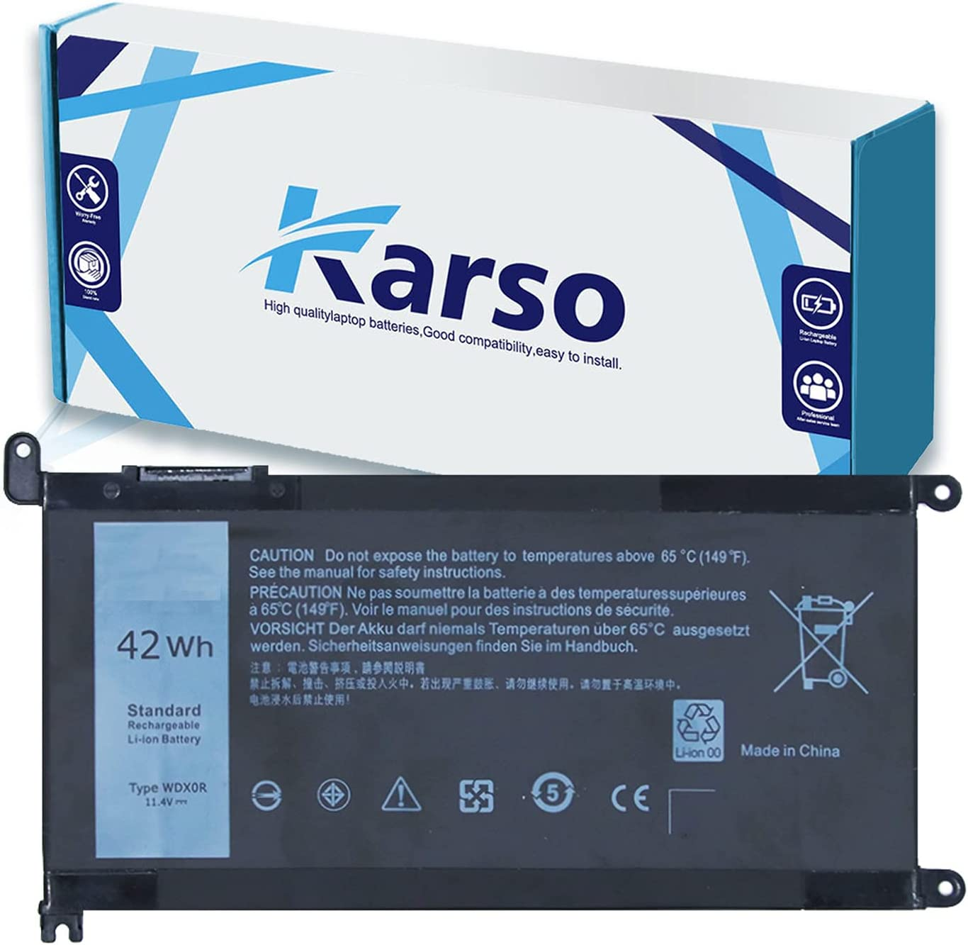 Karso WDX0R Laptop Battery Compatible with Dell Inspiron 13 5000 5368 5378 7000 7368 7378 15 5000 5565 5567 5568 5578 7000 7560 7569 7570 7579 P58F 17 5765 5767 5768 5770 WDXOR Battery