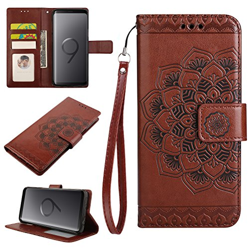 Samsung Galaxy S9 Case, Galaxy S9 Wallet Case, Crosspace PU Leather Magnetic Buckle Book Stand Protective Emboss Flowers Cover with Card Slots and Detachable Wrist Lanyard for Samsung S9-Brown