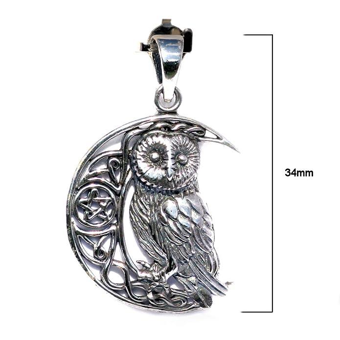 Solid Sterling Silver Wise Moon Owl Celtic Pentagram Wicca Pendant (P068) zK0RI