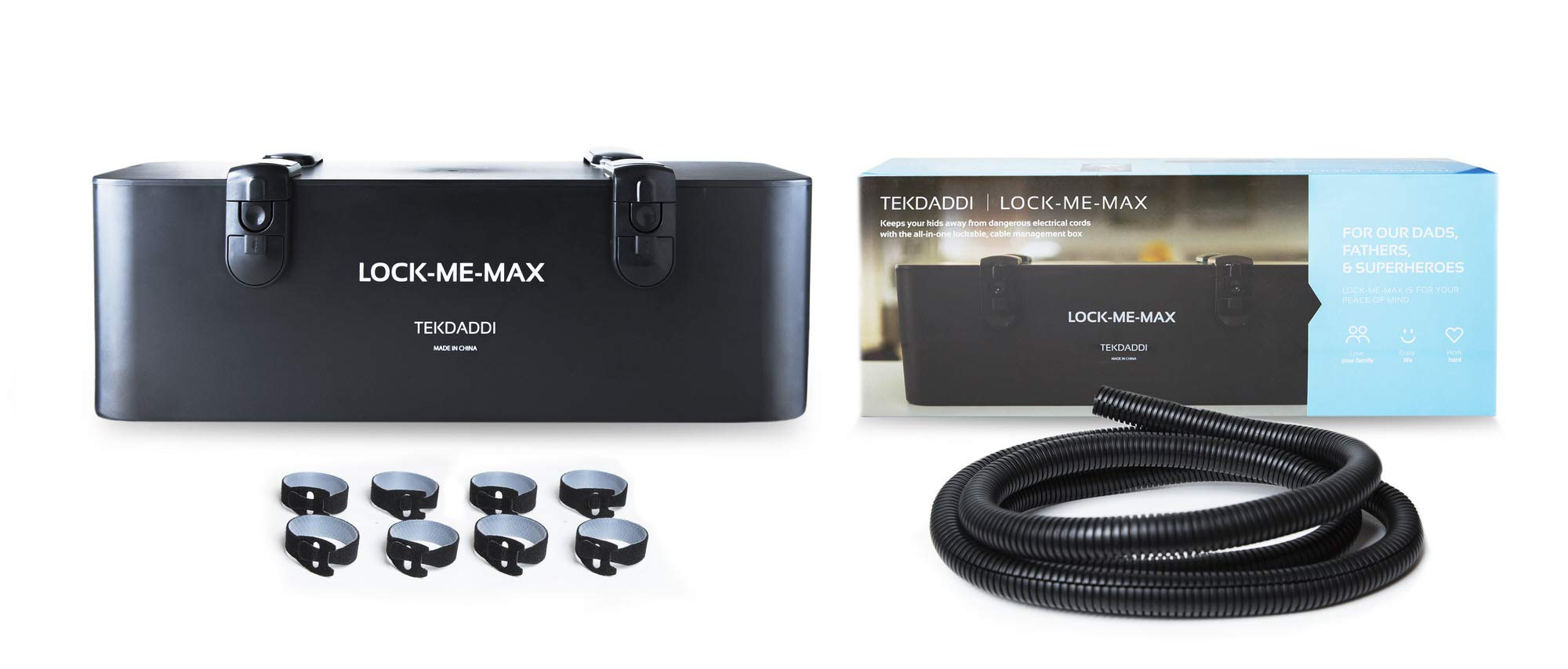 Lock-Me-Max Cable Management - Cord, Cable and Wire Organizer - Cable Box and Wire Hider to Baby Proof The House - Black Box Organizers for TV Cables, Under Desk Cords, Hide Wires and Surge Protector
