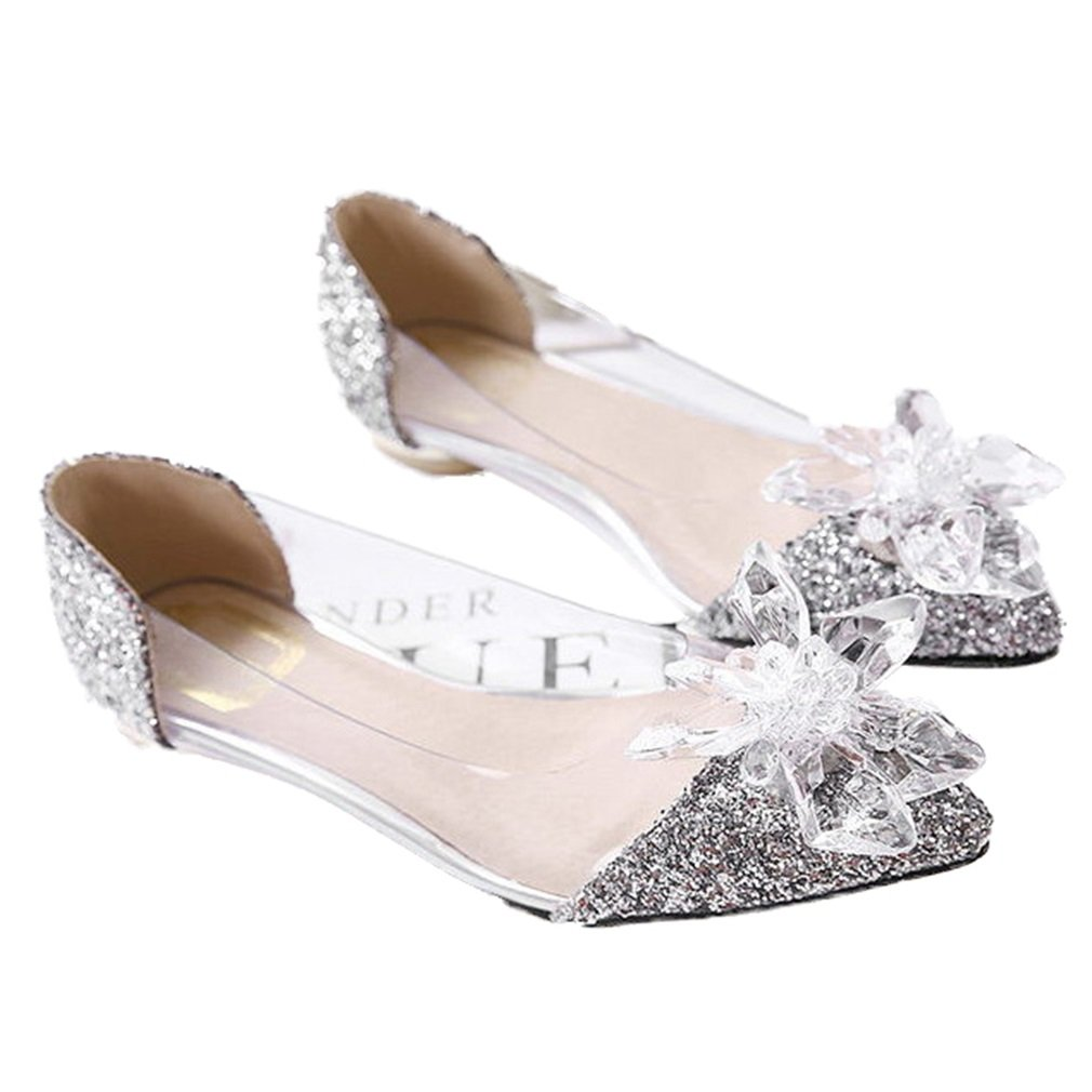 Xianshu Donna Sexy Strass Flat Scarpe Partito Crystal Scarpe A Punta PompeArgento