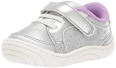 42ea3baf57 Stride Rite Aubrey Baby Toddler Girl s Casual Sneaker First Walker Shoe  Silver 3 M US