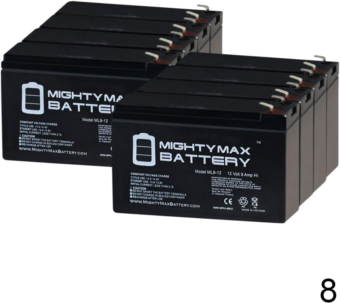 Mighty Max Battery 12V 9AH Battery for Belkin Omniguard 2300 Rackmount 8 Pack Brand Product