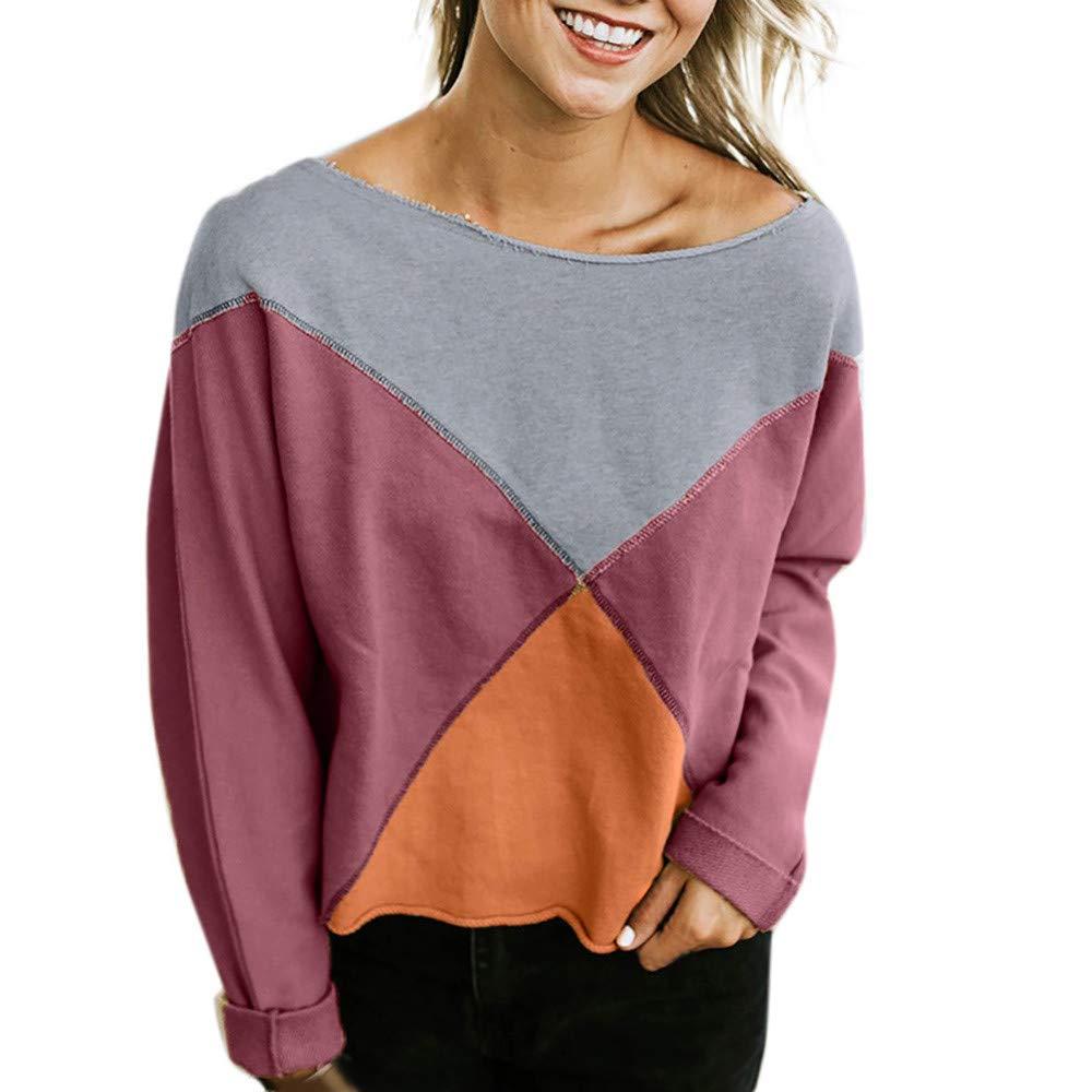 Ulanda Women's Fashion Strapless Long Sleeve Patchwork T-Shirt Blouse Pullover Sweatshirt
