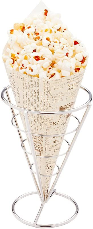 Conetek 10-Inch Eco-Friendly Finger Food Cones: Perfect for Appetizers - Food-Safe Paper Cone with Newsprint Styling - Disposable and Recyclable - 100-CT - Restaurantware