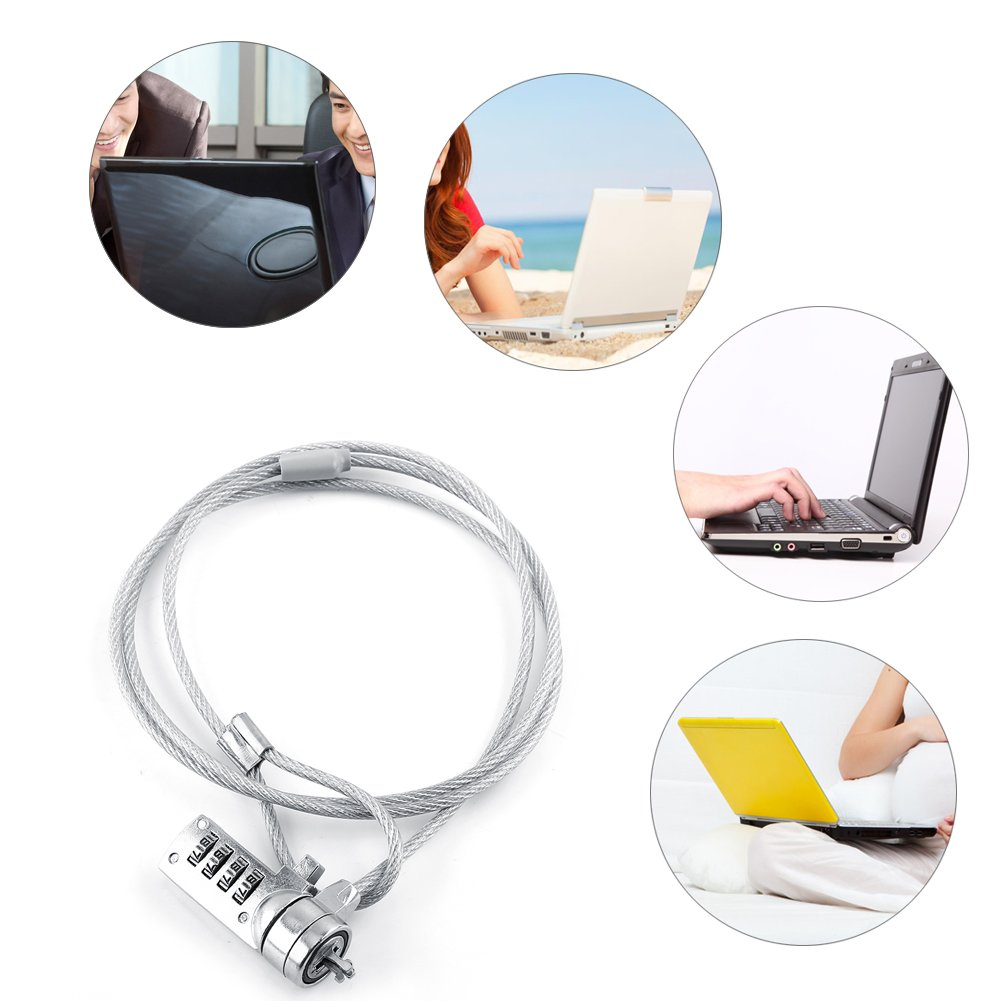 Pomya Notebook Laptop Combination Lock 4 Digit Password Protections Cable Chain Theft Deterrent Combination Security Lock for Notebook PC