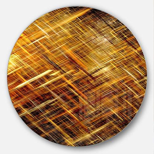 (Designart Golden Mosaic Texture Abstract Digital Circle Wall Art - Disc of 38 inch 38x38-Disc, Gold)