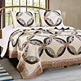 FinelyStitched Country Patchwork Quilt Set Double Wedding Ring Pattern Bedspread Reversible Washable Bedding with Shams Single Bed Twin Size - Includes Bed Sheet Straps