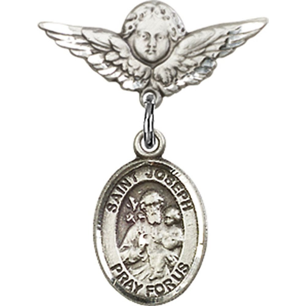 Sterling Silver Baby Badge with St. Joseph Charm and Angel w/Wings Badge Pin 7/8 X 3/4 inches