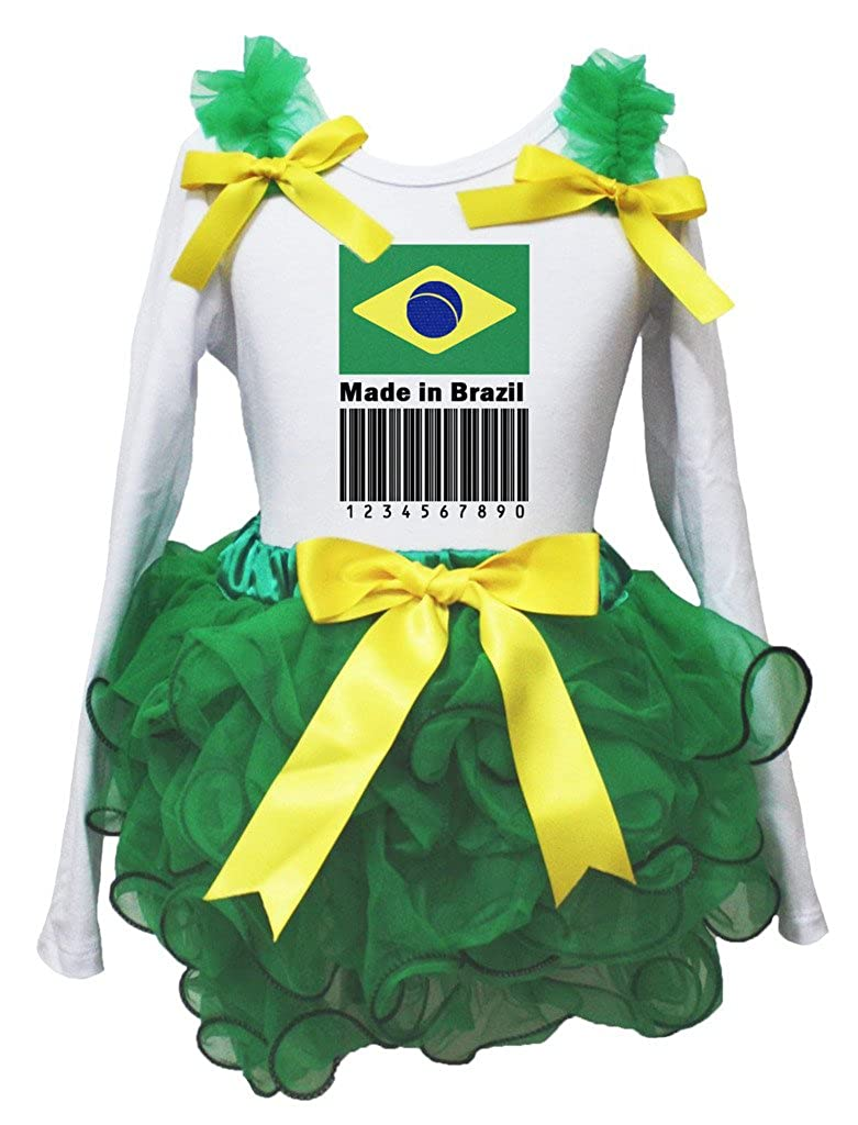 Petitebella Made in Brazil Barcode White L//s Shirt Green Petal Skirt Set Nb-8y
