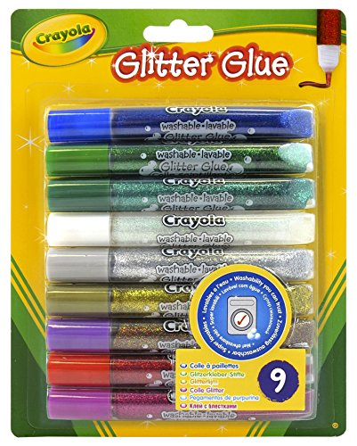 (Crayola Washable Glitter Glue Pens .35oz-Bold 9/Pkg)
