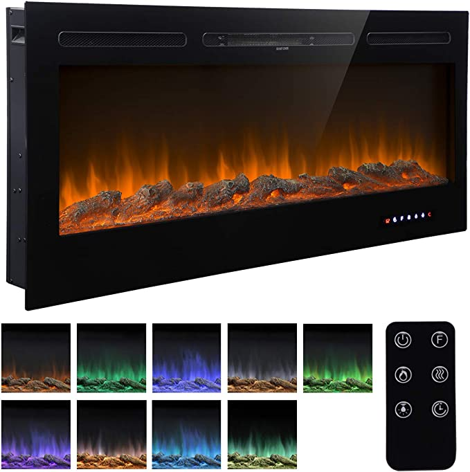 Unionline 127cm In Wall Recessed Mounted Electric Fireplace Insert With Touch Screen Control Panel 9 Colours Flame Remote Control 900 1800w Heater With Timer Black Amazon Co Uk Diy Tools