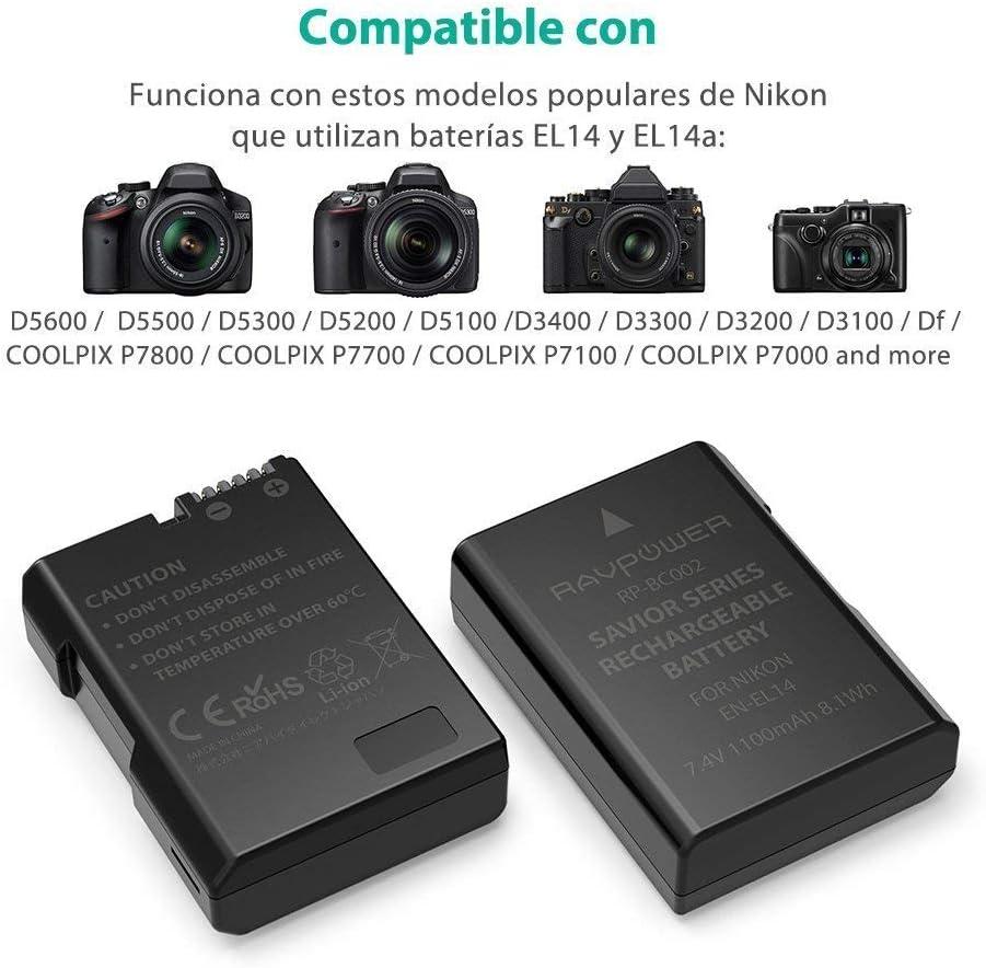RAVPower Batería Nikon EN-EL14 y EN-EL14a para Nikon D5300 / D5100 ...