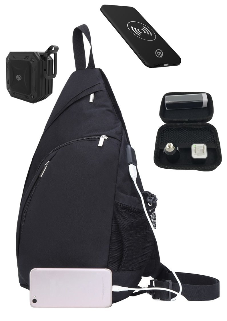 TECHQ Bug Out bag Accessory bundle for small laptops great for a weekend away (Black bag)
