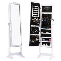LANGRIA Armadio Specchio con 5 LED Portagioie Gioielli a Chiave Stand Bloccabile Organizzatore per Anelli, Orecchini, Bracciali, Spilloni Bianca