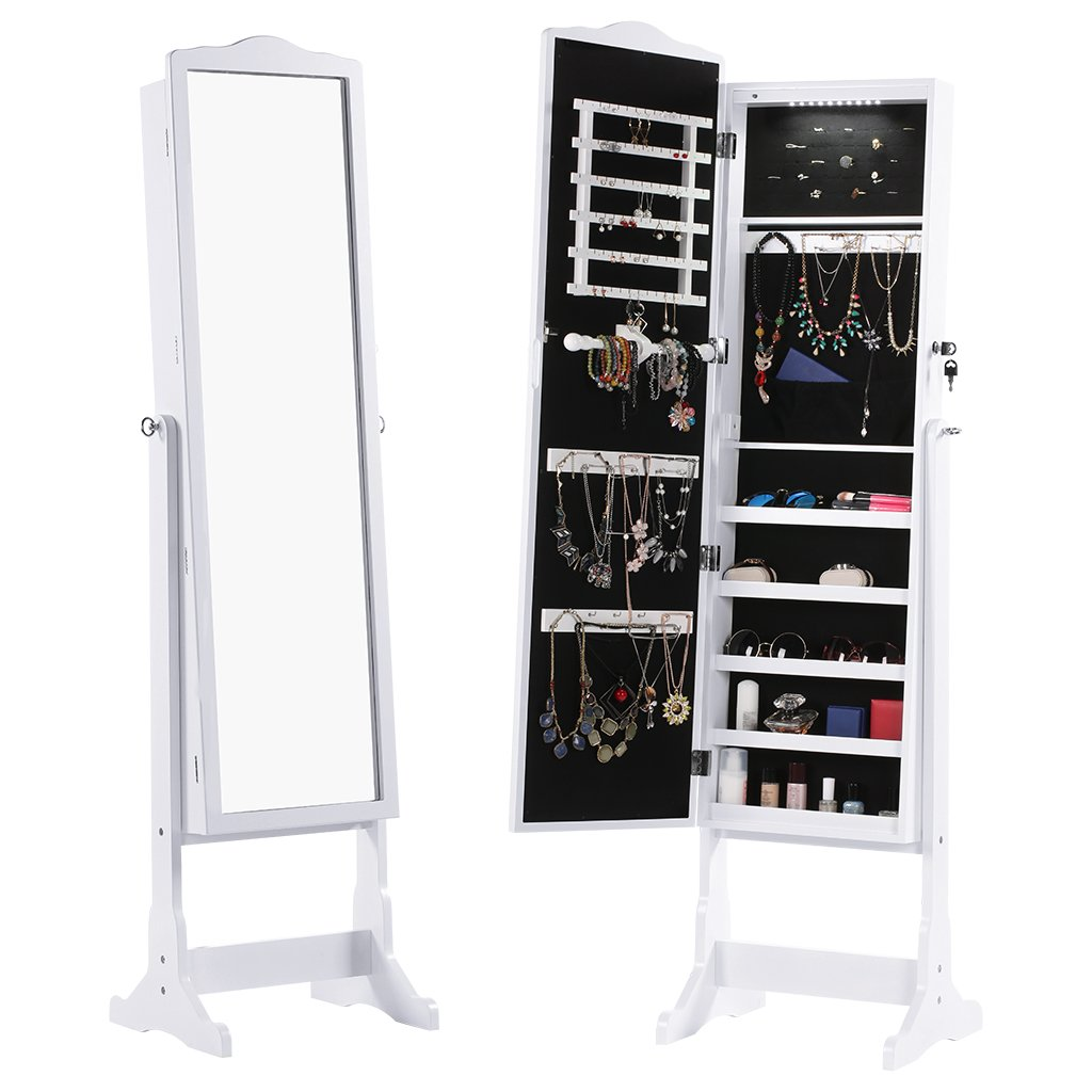 LANGRIA 10 LEDs Lockable Jewelry Cabinet Full-Length Mirrored Jewelry Armoire Free Standing, 5 Shelves, Organizer for Rings, Earrings, Bracelets, Broaches, Cosmetics, White by LANGRIA (Image #2)