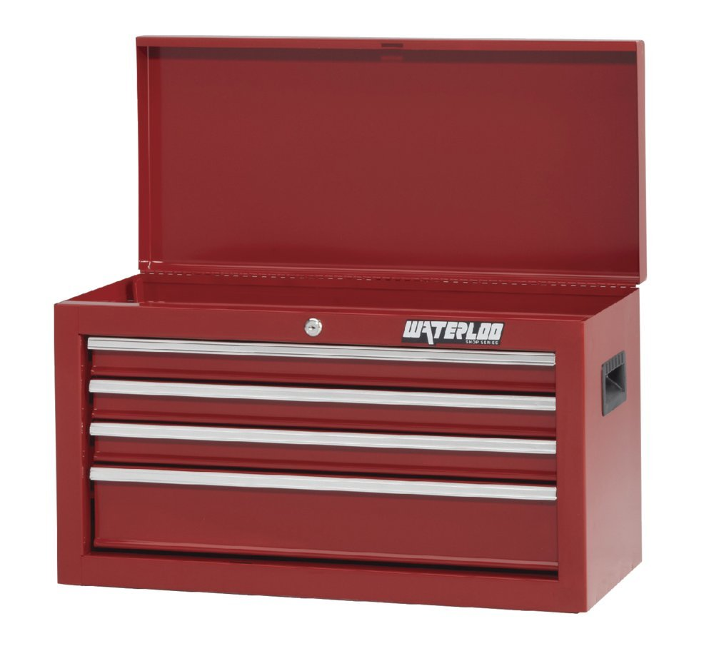 Waterloo Shop Series 4-Drawer Tool Chest with Full-Extension Friction Drawer Slides, Red Finish, 26'' W