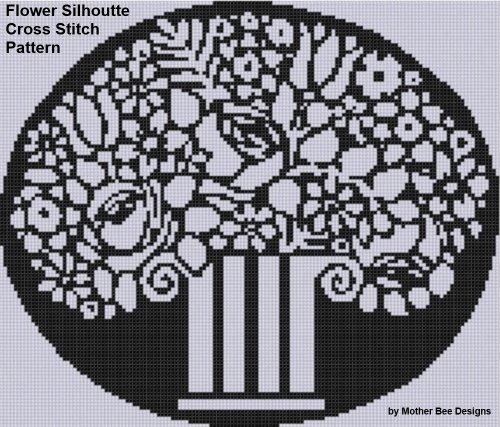 Flower Silhouette Cross Stitch Pattern