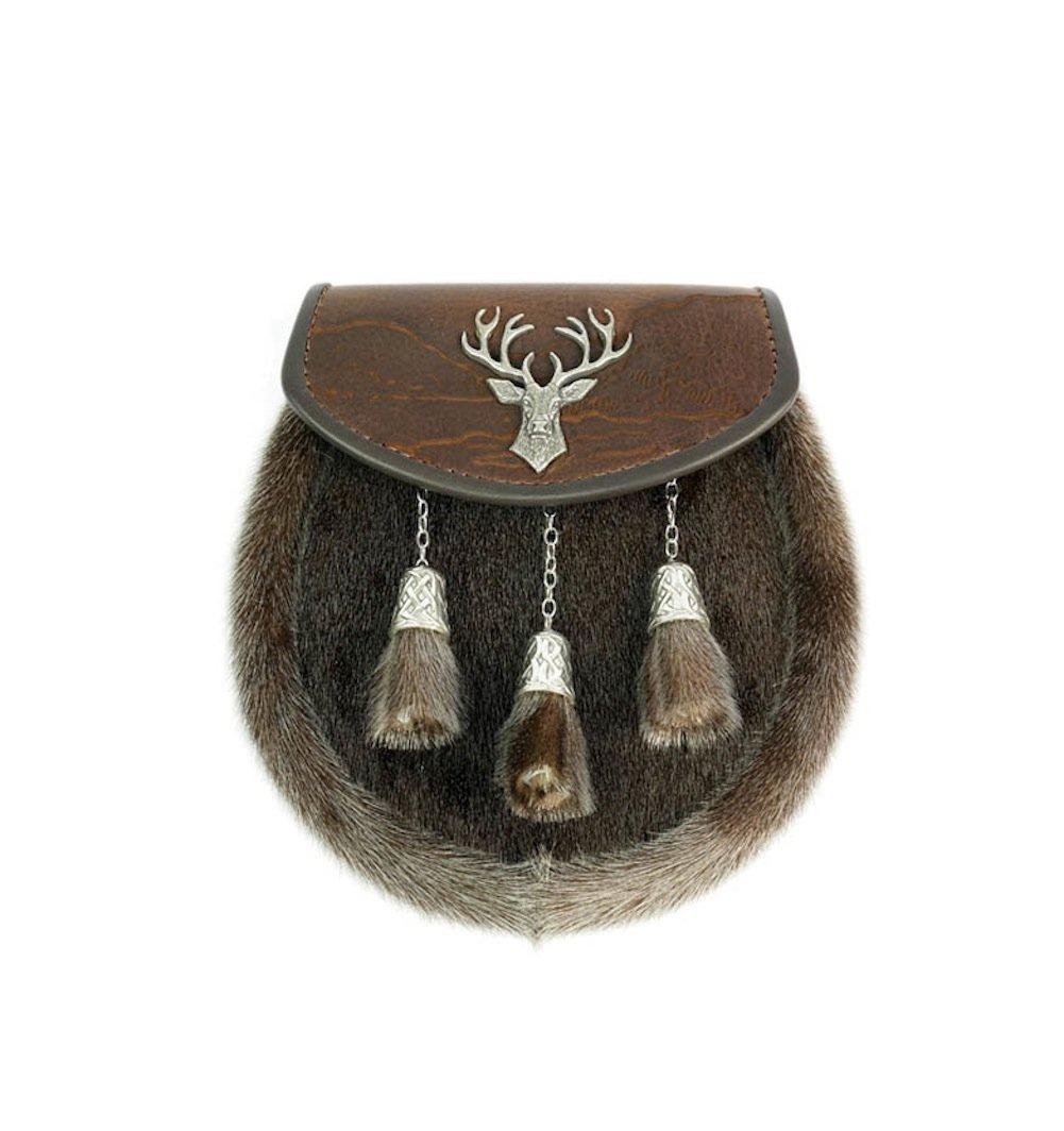 Margaret Morrison Stunning Full Dress Brown Saddlery Leather Scottish Highland Stag Finish Sporran